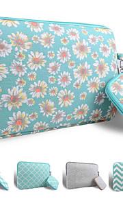 loelmall ® tragen Laptop-Hülle Canvas-Gewebe von 13 bis 13,3 Zoll (grüne Chrysantheme)