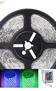 5m 75W 300x5050 SMD LED DC12V IP68 vanntett stripe lys + 24key fjernkontroll rgb + 12v 2a makt AC100-240V