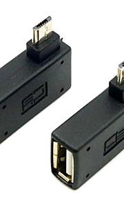 cy® usb 2.0 naar links en rechts bank Micro USB OTG-aansluiting (zwart, 1 set)