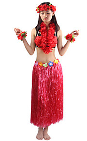 80cm Adults' Fire-Proof Double Layers Hawaiian Carnival Hula Dress Wristbands Necklace Bra and Headpiece