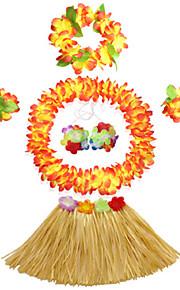 30cm Kid's Fire-Proof Double Layers Hawaiian Carnival Hula Dress Wristbands Necklace Bra and Headpiece