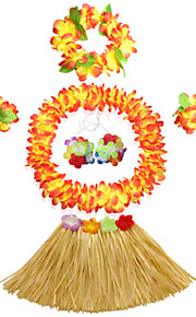 40cm Kid's Fire-Proof Double Layers Hawaiian Carnival Hula Dress Wristbands Necklace Bra and Headpiece