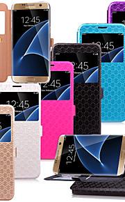 karzea ™ modello del diamante TPU e la cassa di cuoio dell'unità di elaborazione con il basamento per il bordo / s7 Samsung Galaxy S7