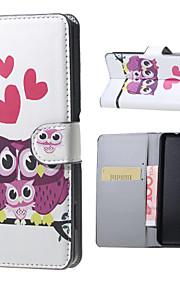 amor del búho familia patrón de tirón de la carpeta del soporte del cuero con la ranura para tarjeta para el lumia 650 Microsoft