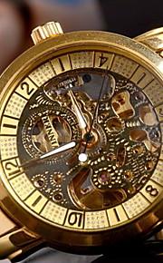 Herren Totenkopfuhr Automatikaufzug Transparentes Ziffernblatt Edelstahl Band Armbanduhr Gold
