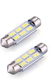 2xfestoon 6x5630smd 6000K hvitt lys ledet pære for bil (12V DC, 36mm)