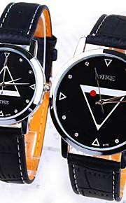 Masculino / Mulheres / Casal Relógio de Moda Quartz Couro Banda Preta / Vermelho marca-