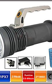 Belysning LED Lommelygter LED 1000 Lumen 3 Tilstand - 18650 Vanntett Genopladelig Nedslags ResistentCamping/Vandring/Grotte Udforskning