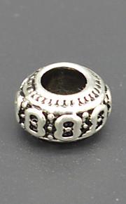 DIY beaded armbånd halskæde tilbehør plating tyk sølv tromle formet mønster + miskreditere makroporøse perle hac0050