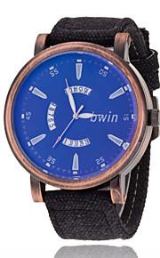 pulso dos homens assistir mostrador do relógio moda casual cinto de lona movimento de quartzo simples grande dos homens (cores sortidas)