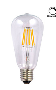 1 pieza kwb E26/E27 5W / 6W 6 COB 600 lm Blanco Cálido ST64 edison Cosecha Bombillas de Filamento LED AC 110-130 V