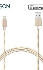 mfi 8pin vri vevd nylon kabel usb datasynkronisering ladekabel for iPhone5 6 6 pluss ipad overføringsavgift linjen 100cm