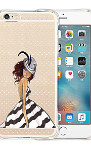 For iPhone 6 etui / iPhone 6 Plus etui Stødsikker / Transparent / Mønster Etui Bagcover Etui Sexet kvinde Blødt SilikoneiPhone 6s Plus/6