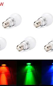 5 stk. HRY E26/E27 5W 1 Høyeffekts-LED 450LM lm RGB Tube Fjernstyrt / Dekorativ LED-scenelys AC 85-265 V