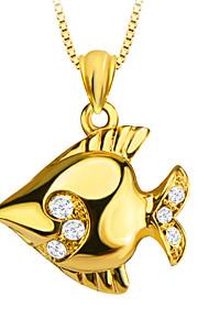 søde tropiske fisk 18K forgyldt vedhæng særlige design krystal smykker til kvinder / mænd gave p30139