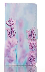 modello di fiore viola custodia in pelle PU con slot per schede e supporto per Samsung Galaxy bordo S7 / S7 plus / galaxy s7