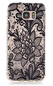 サムスンギャラクシーS7 / S7エッジのための黒と白の食器パターンスリップTPU電話ケース