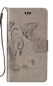 Modelo de mariposa dentro y fuera de la impresión de la caja del teléfono de cuero titular de la tarjeta cordón de la PU para wiko Lenny 2