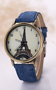 Men/Women Eiffel Tower  Case Denim Fabric Band Analog Quartz Wrist Watch