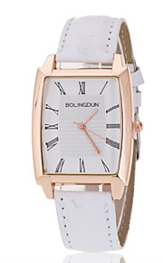 Ladies' Wrist Watch Rose Gold Ring White Rectangular Plate PU Band Quartz Watch(Assorted Colors)