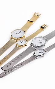 caixa branca banda de aço inoxidável relógio de pulso de moda vestido do casal