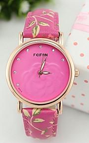 Moda Feminina flor mostrador do relógio decorativo relógio analógico de quartzo