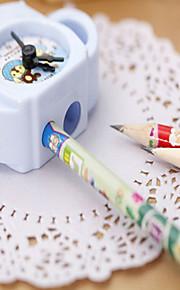 1PC Cute Teapot Plastic Pencil Sharpener Alarm clock Creative Stationery For Kids Student Gifts School(Style random)