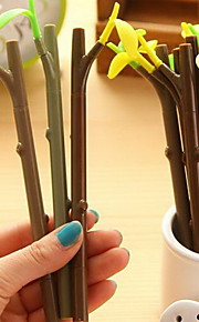 Leaves Dustproof Plug Black Ink Branch Gel Pen(1 PCS Random Color)