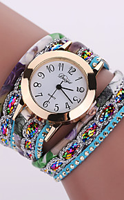 Mulheres Relógio de Moda Quartzo Relógio Casual Couro Banda BoêmioPreta Branco Azul Prata Vermelho Marrom Verde Rosa Roxa Bege Azul