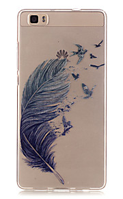 Transparent Colored Feather Pattern TPU Soft Case Phone Case For Huawei P8 Lite