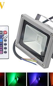 1 stk. HRY 10W 1 Integrert LED 1000LM lm RGB Vanntett / Fjernstyrt / Dekorativ LED-lyskastere DC 12 V