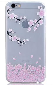 TPU material lyser i mörkret genomskinliga plommon blomma lättnad mjukt skydd ringer fallet för iphone 6 / 6s / 6 plus / 6s plus