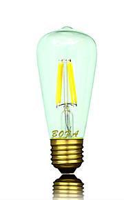 1 stk. NO E26 / E26/E27 3W 4 COB 200-300 lm Varm hvit ST58 Dimbar / Dekorativ LED-globepærer AC 220-240 V