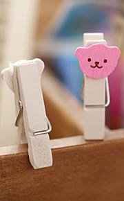 1PC Cute Heart Bear Memo Clips/Cute Wooden Photos Wood Photo Holder Small Clip(Style random)