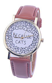 Feitong Women Casual Dress Watch 2016 Ladies Lovely Because Cats Printed PU Leather Band Quartz Wrist Watch relogio