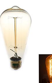 1 stk. Zweihnder E26/E27 40W 1 COB 500 lm Varm hvit ST64 edison Vintage LED-glødepærer AC 110-130 V