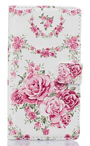 розовые цветы шаблон пу кожаный материал аргументы за телефона Huawei Ascend p9 облегченная / p9