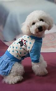 犬用品 ドレス ブルー 冬 / 夏 / 春/秋 クラシック / 水玉 / ジーンズ 結婚式 / バレンタインデー / ファッション / クリスマス-Lovoyager