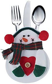 2pcs Kitchen Tableware Bag Snowman Pocket Sets Silveware Holder Christmas Party Decoration