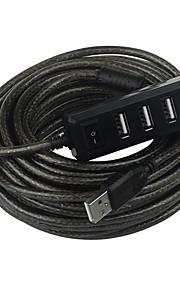 USB 2.0 de 4 puertos / interfaz de concentrador USB 7.7 * 10 metros 3.8 * 1.4