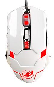 krig ulv 6d kablede gaming mus 3200dpi 7 farver bagbelyst vejrtrækning lys for lol / cf / DotA hvid