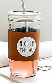 copo de vidro de palha criativo para o café