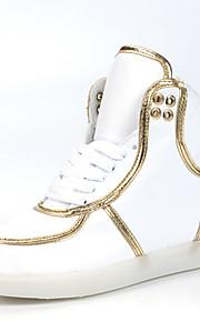 Zapatos de mujer-Tacón Plano-Confort / Punta Redonda / Bailarinas-Bailarinas-Exterior / Casual / Fiesta y Noche-Semicuero-Negro / Blanco