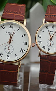 Casal Relógio de Moda Quartz Relógio Casual PU Banda Preta / Branco / Marrom marca-