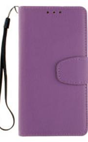 Cuerpo Completo Soporte de Tarjeta / billetera / Dar la vuelta Color Sólido Cuero Sintético Suave Wallet Hang a ropeCubierta del caso