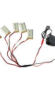 5pcs 3.7V 650mAh batteri med 1 til 5 USB oplader kabel adapter dele til SYMA x5c x5 x5sc rc quadrokopter