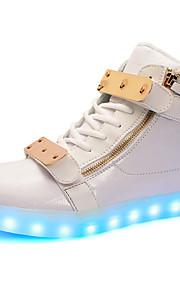 Zapatos de mujer-Tacón Plano-Confort / Punta Redonda-Bailarinas-Exterior / Casual-PU-Negro / Blanco