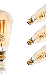 3.5 E26/E27 Ampoules à Filament LED ST21 4 COB 300 lm Ambre Gradable / Décorative AC 110-130 V 4 pièces