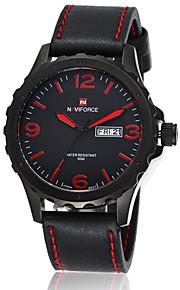 NAVIFORCE Masculino Relógio Militar Relógio de Pulso Quartzo Quartzo Japonês Calendário Impermeável Couro Banda Preta MarromPreto Marron