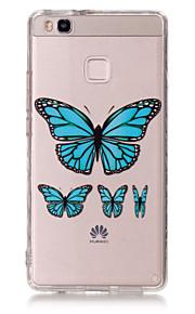 Capa traseira Ultra Fino / Transparentes / Estampa / Em relevo Borboleta TPU Macio Case Capa Para HuaweiHuawei P9 / Huawei P9 Lite /